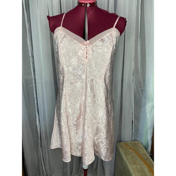 neglige nightgown Vintage satin pink floral sz L